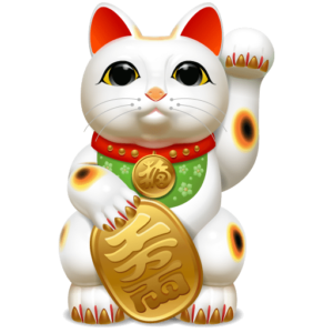 "maneki-neko (Japanese: 招き猫?, literally ""beckoning cat"")"
