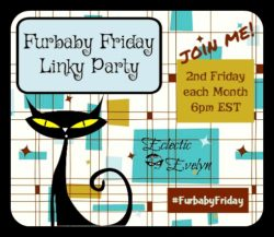 #FurbabyFriday Linky Party Badge EclecticEvelyn.com
