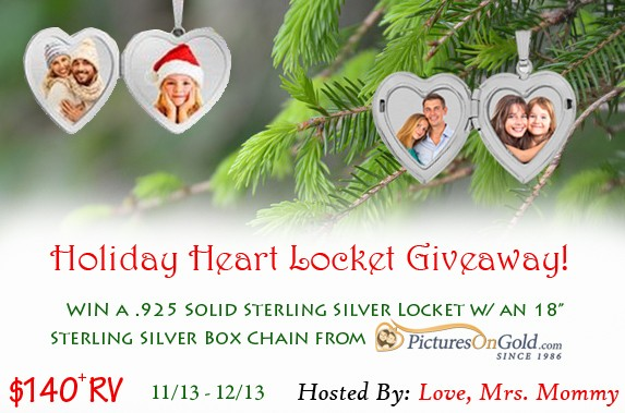 PicturesOnGold Holiday Heart Locket Giveaway! $140+ RV! ends 12/13