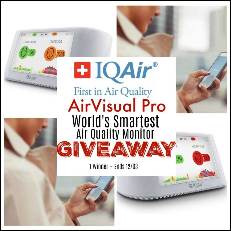 IQAir AirVisual Pro ~ World's Smartest Air Quality Monitor Giveaway! (1 Winner ~ Ends 12/03) @SMGurusNetwork @IQAir #Holiday19