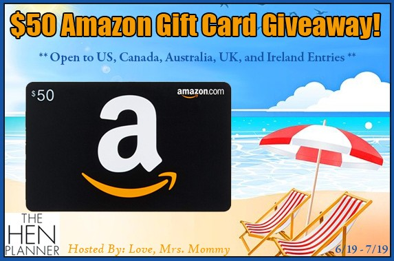 The Hen Planner $50 Amazon Gift Card Giveaway! ends 7/19